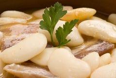 烟肉豆烹调judiones西班牙语炖煮的食物 库存照片