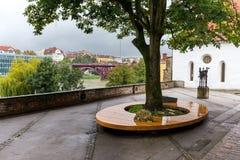 Judisk arvsynagoga som bygger regnigt höstväder, Maribor Arkivfoton