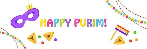 Judisk ferie av Purim som hälsar banret stock illustrationer