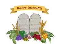 Judisk ferie av Shavuot, minnestavlor av stenen och sju art stock illustrationer