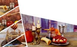 Judisk ferie Rosh Hashana med honung och äpplen Shofar och traditionell mat för tallit av judisk beröm för nytt år royaltyfria bilder