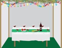 Judisk ferie traditionell Sukkah och matställetabell royaltyfri illustrationer