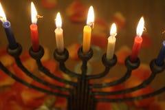 Judisk ferieChanukkah med stearinljusljus Fotografering för Bildbyråer