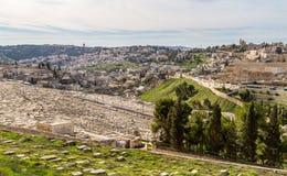 Judisk kyrkogård på Mountet of Olives, Jerusalem Arkivfoto