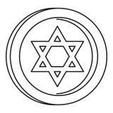 Judisk stjärnamyntsymbol, översiktsstil stock illustrationer