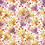 Judisk traditionell ferie Hannukah seamless modell Arkivbild