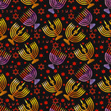 Judisk traditionell ferie Hannukah seamless modell stock illustrationer
