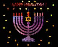 Judisk traditionell ferie Hannukah Vattenfärghälsningkort Arkivfoton