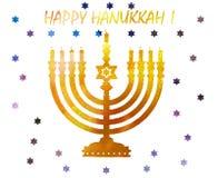Judisk traditionell ferie Hannukah Vattenfärghälsningkort Arkivbilder