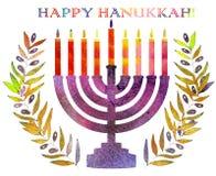 Judisk traditionell ferie Hannukah Vattenfärghälsningkort Arkivfoto