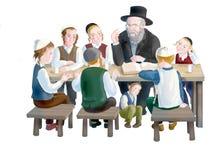 Judiska barn med en rabbin stock illustrationer