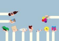 Judiska feriebeståndsdelar för påskhögtid Stock Illustrationer