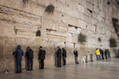 Judiska män som ber - den att jämra sig väggen - gamla Jerusalem, Israel Royaltyfria Bilder