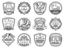 Judiska religionsymboler, monokrom vektor stock illustrationer