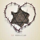 Judiskt emblem och text in memoriam arkivbild