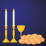 Judiskt traditionellt Sabbatstearinljus, kiddushkopp och challah stock illustrationer