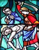 Judith befriare av hennes folk, byten den fientliga kaptenen Holofernes Arkivfoto