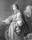 Judith with the Head of Holofernes. On engraving from 1846. Engraved by J.Carter after a painting by Allori Royalty Free Stock Photography