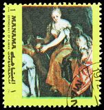 Judith with the head of Holofernes; by Paolo Veronese, Famous paintings serie, circa 1972. MOSCOW, RUSSIA - FEBRUARY 21, 2019: A stamp printed in shows Judith stock photo
