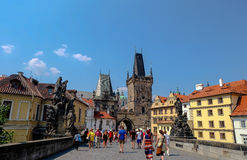 Judith Tower Lesser Town Bridge Towers Prague - Tjeckien Royaltyfri Fotografi