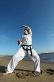 Judo. A judo fighter practicing at the beach royalty free stock image