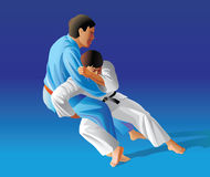 Judo. Vector illustration, how the fighter of judo is throwing the contender on a carpet Stock Photo