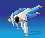 Judo. Vector illustration, how the fighter of judo is throwing the contender on a carpet Royalty Free Stock Photography