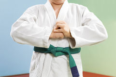 Judo. Young boy preparing to perform judo stock photography