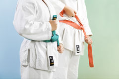 Judo. Two young boys preparing to perform judo stock image