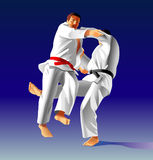 Judo. Vector illustration, how the fighter of judo is throwing the contender on a carpet Stock Images