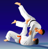 Judo. Vector illustration, how the fighter of judo is throwing the contender on a carpet Stock Photography