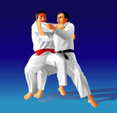 Judo. Vector illustration, how the fighter of judo is throwing the contender on a carpet Royalty Free Stock Photo