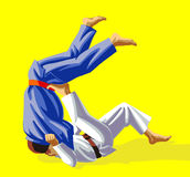 Judo. Vector illustration, how the fighter of judo is throwing the contender on a carpet Royalty Free Stock Images