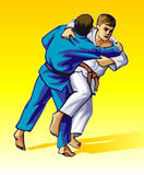 Judo. Vector illustration, how the fighter of judo is throwing the contender on a carpet Royalty Free Stock Photos