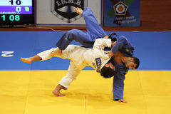 Judo action. Firudin Dadashov (In blue) from Azerbaijan and Beka Gviniashvili (In white) from Georgia fighting during the European Judo Championships for stock photography