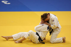 Judo action - submission technique. Judo action: unknown female judo fighters performing a submission technique during the European Judo Championships for stock images