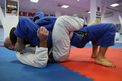 Judo action - submission technique. Judo action: unknown male judo fighters performing a submission technique stock photos