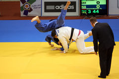 Judo action. Unknown judo fighters pictured in action during the European Judo Championships for Individual Juniors held in Bucharest stock images