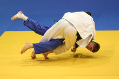Judo action. Unknown judo fighters pictured in action during the European Judo Championships for Individual Juniors held in Bucharest stock image