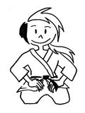 A judo boy in Seiza positio. N with smiling expression Royalty Free Stock Photography
