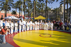 Judo camp. Judo demonstration during the Festival of Sport in 2009 at the Porto Antico of Genova. In this shot young judokas in a circle on the tatami royalty free stock photo
