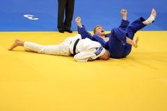 Judo - celebración de victoria Imagenes de archivo