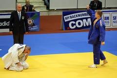 Judo - celebración de victoria Imagen de archivo