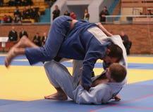 Judo championship. KHARKIV, UKRAINE - NOVEMBER 28:  Unidentified participants scramble within Ukrainian judo championship, November 28, 2009 in Kharkov, Ukraine Royalty Free Stock Images