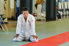 Judo Class at Shudokan Hall in Osaka, Japan. OSAKA, JAPAN - OCTOBER 25: Shudokan Hall in Osaka, Japan on October 25, 2014. Unidentified Japanese students attend stock images