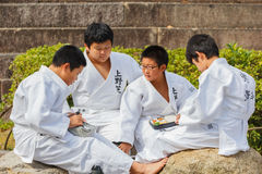 Judo Class at Shudokan Hall in Osaka, Japan. OSAKA, JAPAN - OCTOBER 25: Shudokan Hall in Osaka, Japan on October 25, 2014. Unidentified Japanese students have stock photo