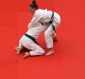 Judo Competition With Young Competitors Stock Images