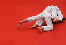 Judo Competition With Young Competitors Stock Photo