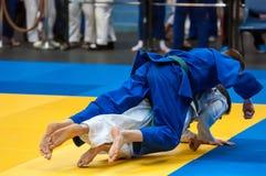 Judo competitions among boys, Orenburg, Russia Stock Image
