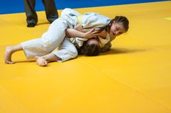 Judo competitions among girls, Orenburg, Russia Royalty Free Stock Images